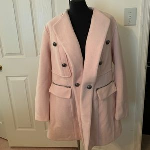 Soft pink dress coat with removable faux fur